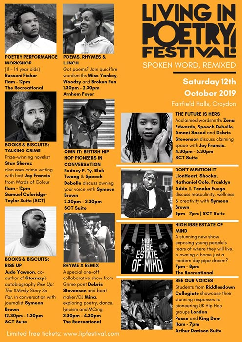 Living in Poetry Festival at Fairfield Halls on Sat 12th October 2019 Flyer