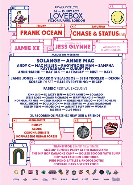 Lovebox Friday at Victoria Park on Fri 14th July 2017 Flyer