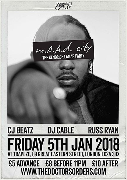 m.A.A.d City  at Trapeze on Friday 5th January 2018 Flyer