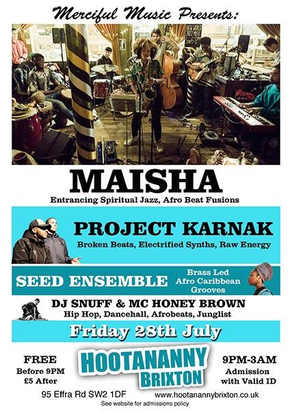Maisha at Hootananny on Fri 28th July 2017 Flyer