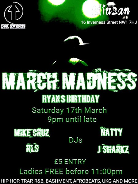 March Madness at Miusan on Sat 17th March 2018 Flyer