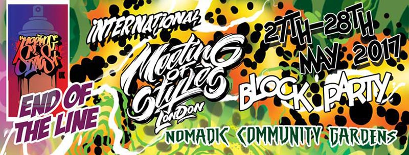Meeting of Styles Blockparty Fundraiser  at Nomadic Community Garden on Sat 27th May 2017 Flyer