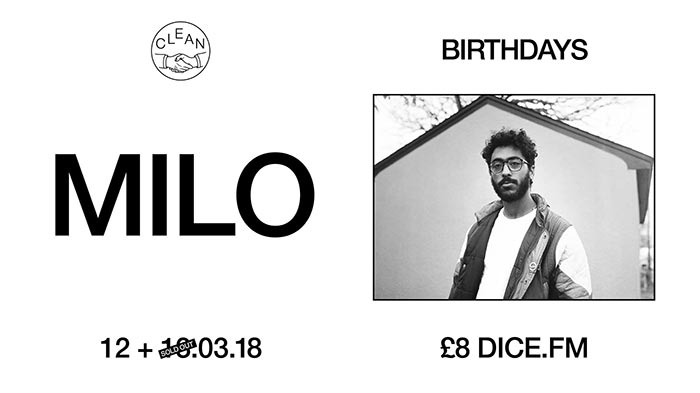 Milo at Birthdays on Tue 13th March 2018 Flyer