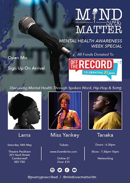 Mind Over Matter at TheatrePeckham on Sat 18th May 2019 Flyer