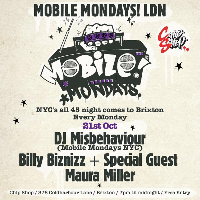 Mobile Mondays LDN at Chip Shop BXTN on Monday 21st October 2019 Flyer