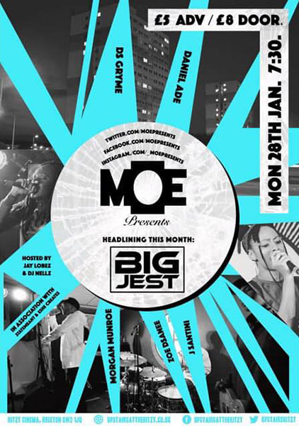 MOE Presents at The Ritzy on Monday 28th January 2019 Flyer