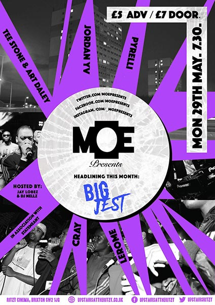 M.O.E Presents at The Ritzy on Mon 29th May 2017 Flyer