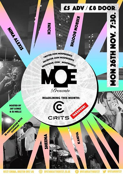 MOE Presents at The Ritzy on Monday 26th November 2018 Flyer