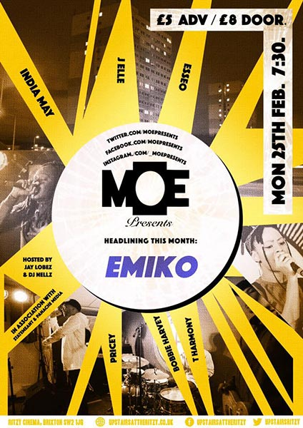 MOE Presents at The Ritzy on Mon 25th February 2019 Flyer