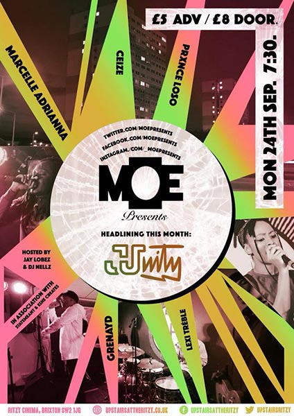 MOE Presents at The Ritzy on Monday 24th September 2018 Flyer