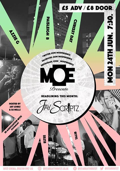 MOE Presents at The Ritzy on Mon 24th June 2019 Flyer