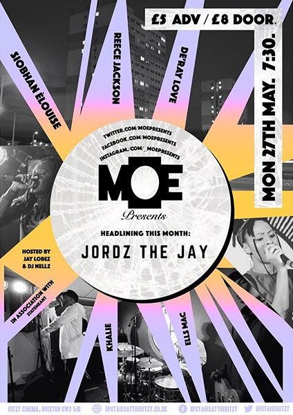 MOE Presents at The Ritzy on Mon 27th May 2019 Flyer
