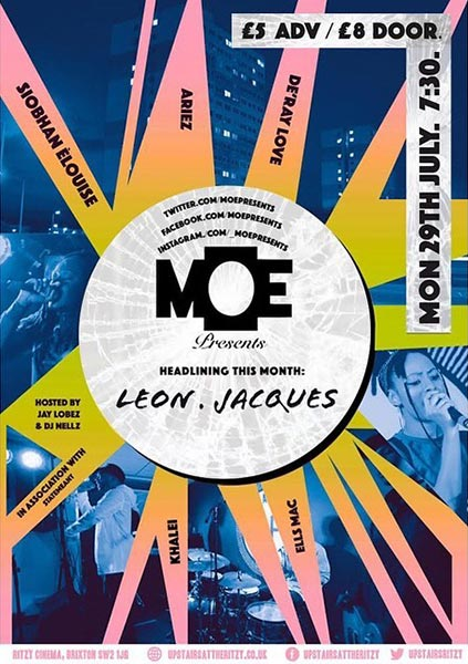 MOE Presents at The Ritzy on Mon 29th July 2019 Flyer