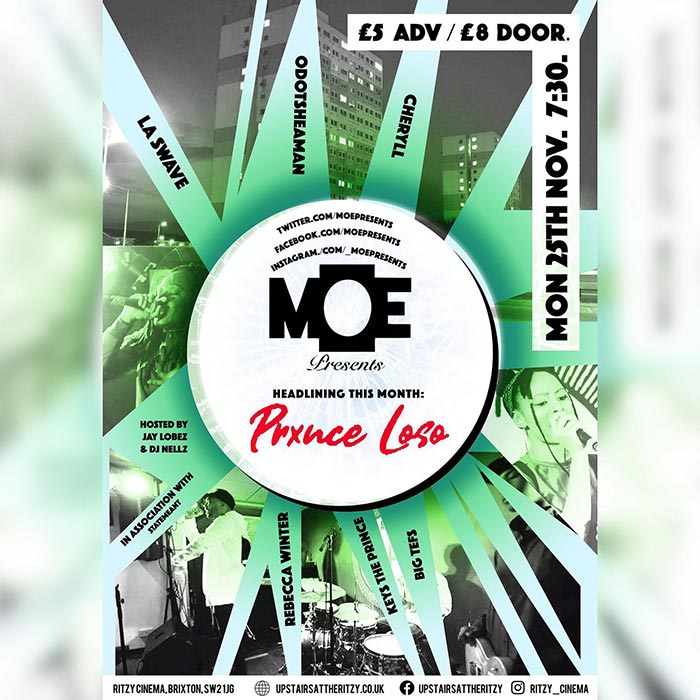 MOE Presents at The Ritzy on Mon 25th November 2019 Flyer