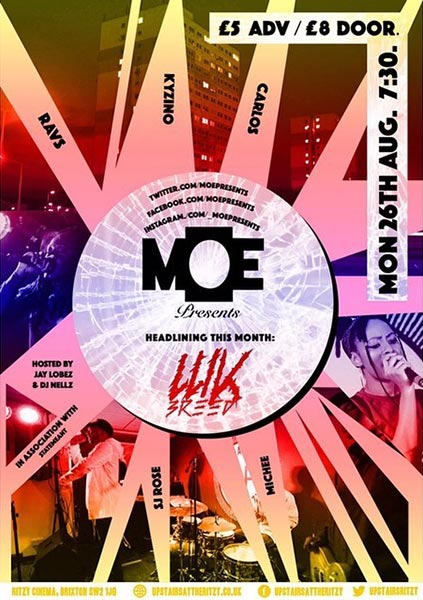 MOE Presents at The Ritzy on Mon 26th August 2019 Flyer