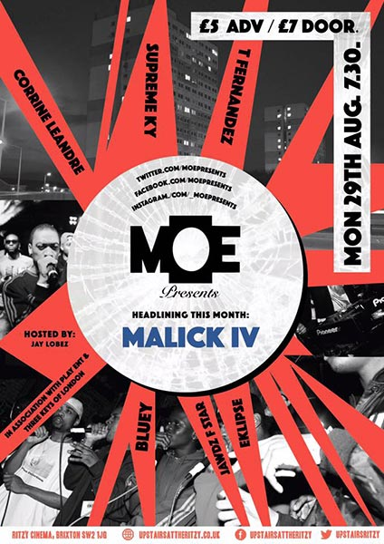 MOE Presents at Trapeze on Monday 29th August 2016 Flyer