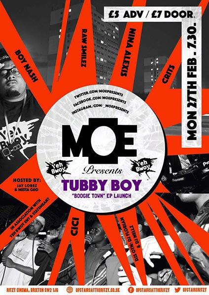 MOE Presents at Brixton Academy on Monday 27th February 2017 Flyer