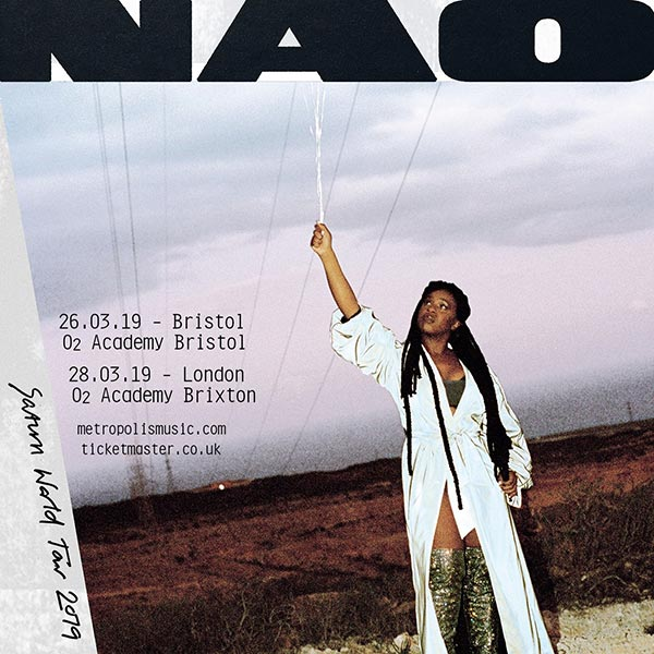 NAO at Brixton Academy on Thu 28th March 2019 Flyer