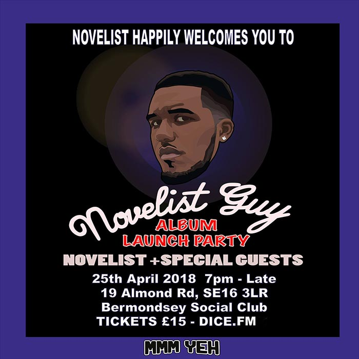 Novelist at Bermondsey Social Club on Wed 25th April 2018 Flyer