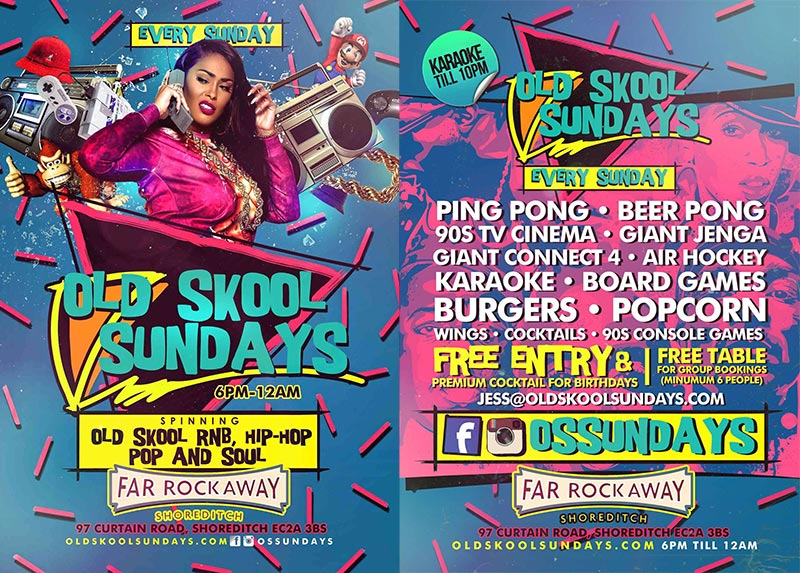 Old Skool Sundays at Proud East on Sun 18th March 2018 Flyer