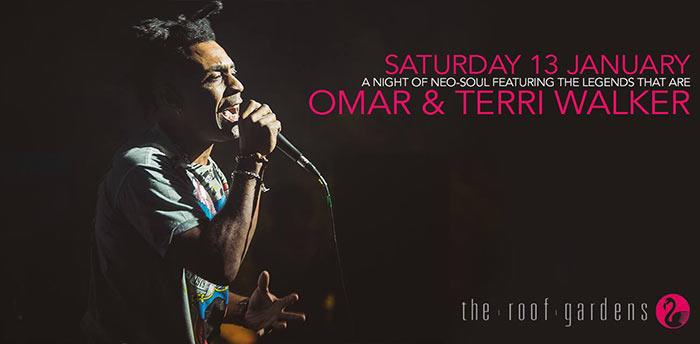 Omar & Terri Walker at Kensington Roof Gardens on Sat 13th January 2018 Flyer