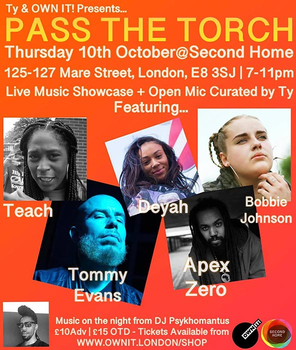 Pass The Torch at Second Home London Fields on Thu 10th October 2019 Flyer