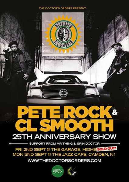 Pete Rock & CL Smooth at Trapeze on Monday 5th September 2016 Flyer