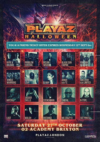 Playaz Halloween at Brixton Academy on Saturday 27th October 2018 Flyer