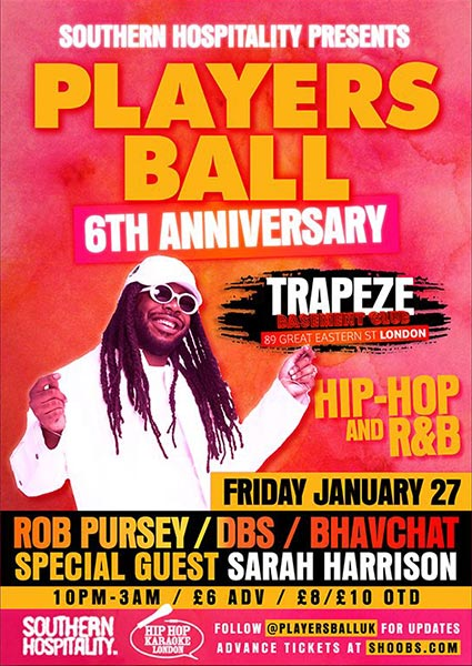 Players Ball 6th Anniversary at Islington Assembly Hall on Friday 27th January 2017 Flyer