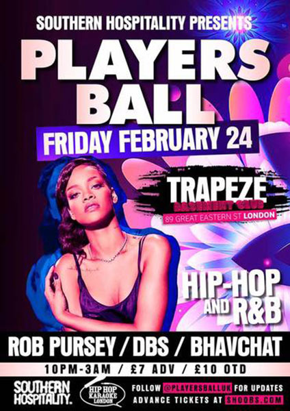 Players Ball at Brixton Academy on Friday 24th February 2017 Flyer
