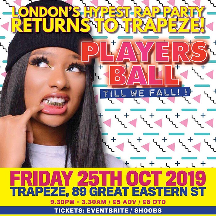 Players Ball at Trapeze on Fri 25th October 2019 Flyer