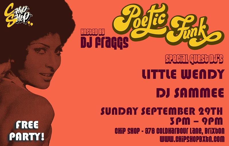 Poetic Funk at Chip Shop BXTN on Sun 29th September 2019 Flyer