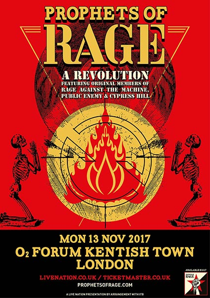 Prophets of Rage at Finsbury Park on Monday 13th November 2017 Flyer