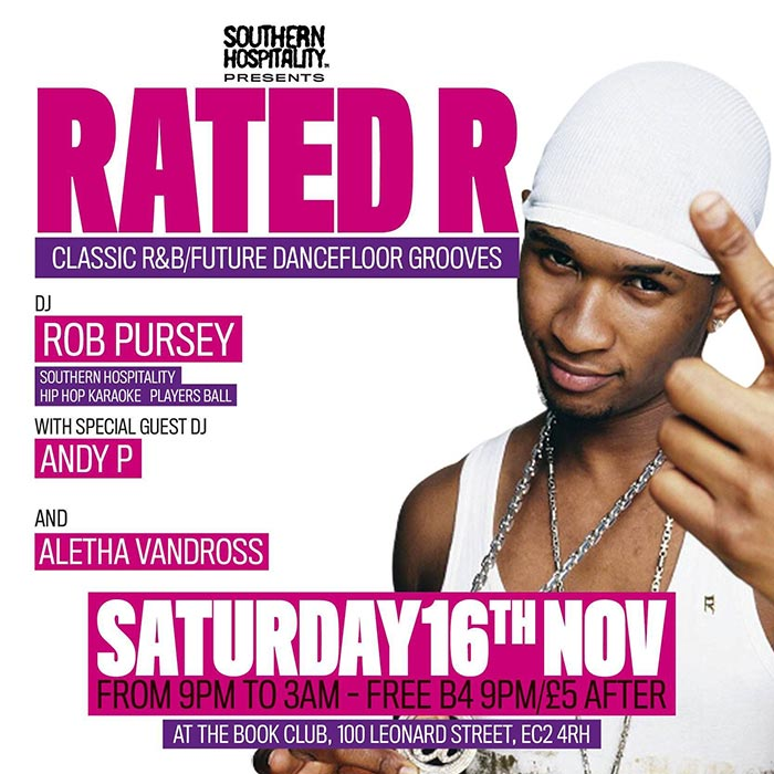 Rated R at Book Club on Saturday 16th November 2019 Flyer