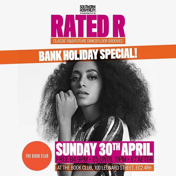 Rated R at Book Club on Sun 30th April 2017 Flyer