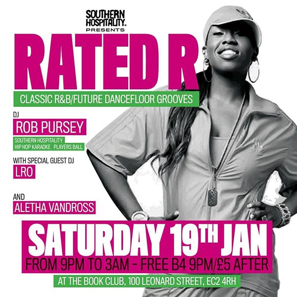 Rated R at Book Club on Saturday 19th January 2019 Flyer