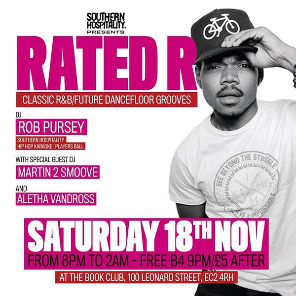 Rated R at Book Club on Sat 18th November 2017 Flyer