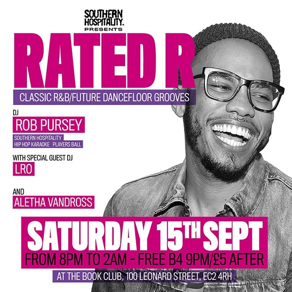 Rated R at Book Club on Saturday 15th September 2018 Flyer