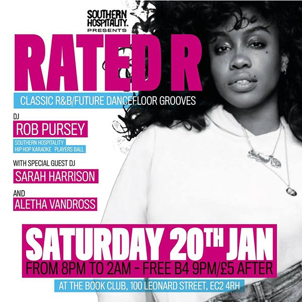 Rated R at Book Club on Saturday 20th January 2018 Flyer