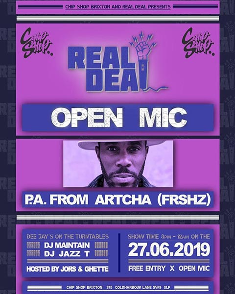 Real Deal at Chip Shop BXTN on Thu 27th June 2019 Flyer