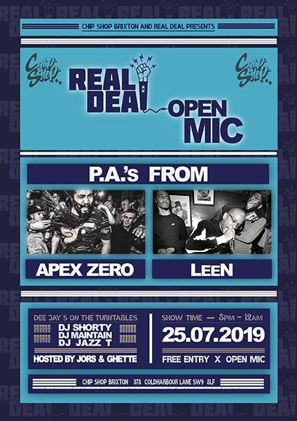 Real Deal at Chip Shop BXTN on Thu 25th July 2019 Flyer