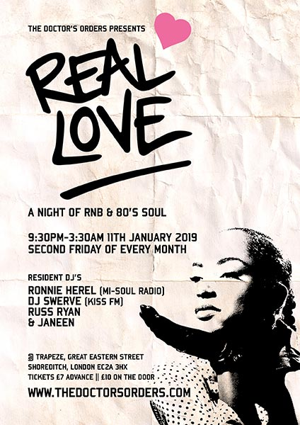 Real Love at Hoxton Square Bar & Kitchen on Fri 11th January 2019 Flyer