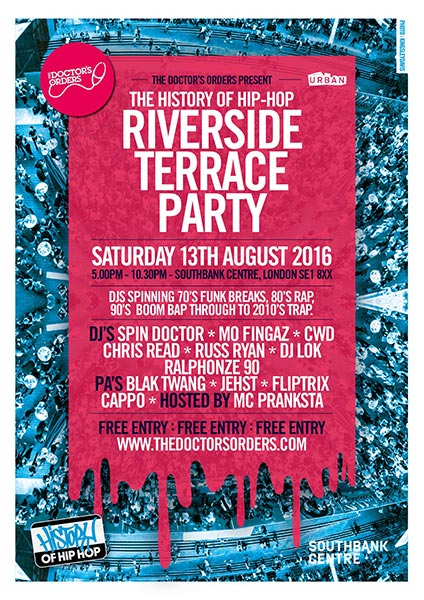 Riverside Terrace Party at Trapeze on Saturday 13th August 2016 Flyer
