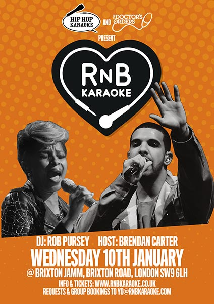 RnB Karaoke at Brixton Jamm on Wednesday 10th January 2018 Flyer