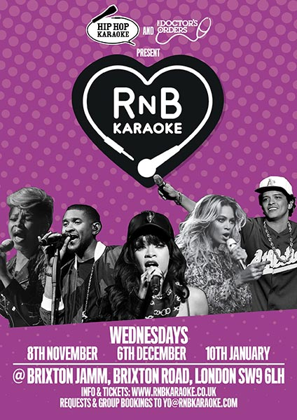 RnB Karaoke at Finsbury Park on Wednesday 8th November 2017 Flyer