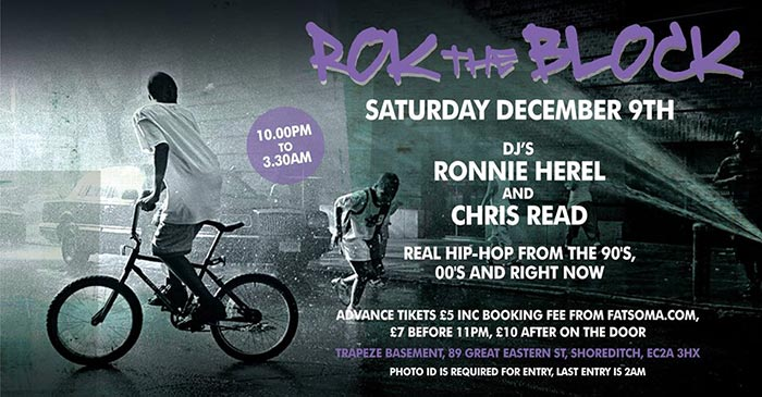 Rok the Block at Mum & Dad Studios on Sat 9th December 2017 Flyer