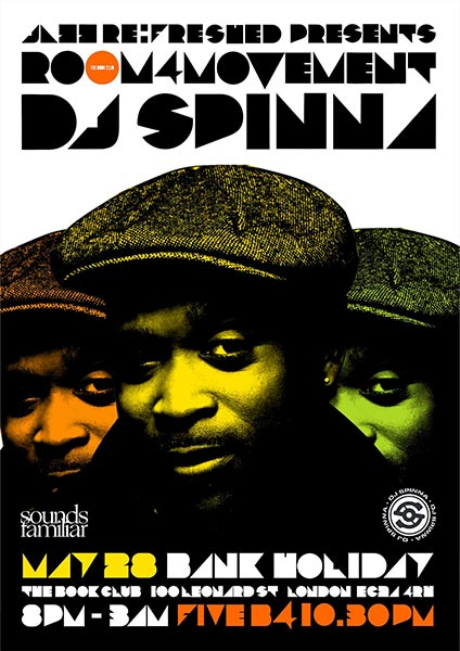 Room4Movement w/ DJ Spinna at Book Club on Sun 28th May 2017 Flyer