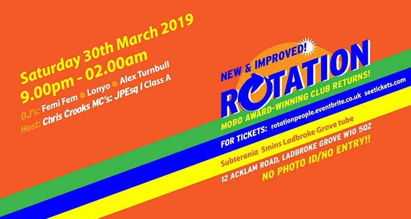 Rotation at Subterania on Sat 30th March 2019 Flyer