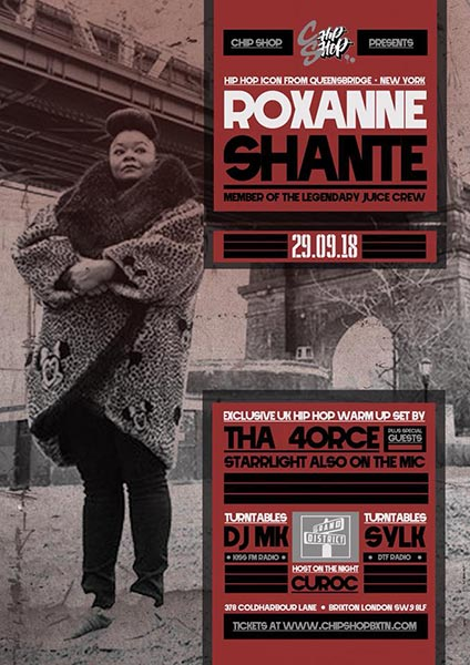 Roxanne Shante at Chip Shop BXTN on Saturday 29th September 2018 Flyer