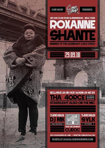 Roxanne Shante at Chip Shop BXTN on Sat 29th September 2018 Flyer